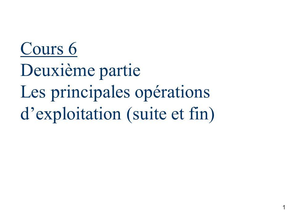 1 Cours 6 Deuxième partie Les principales opérations dexploitation (suite et fin)