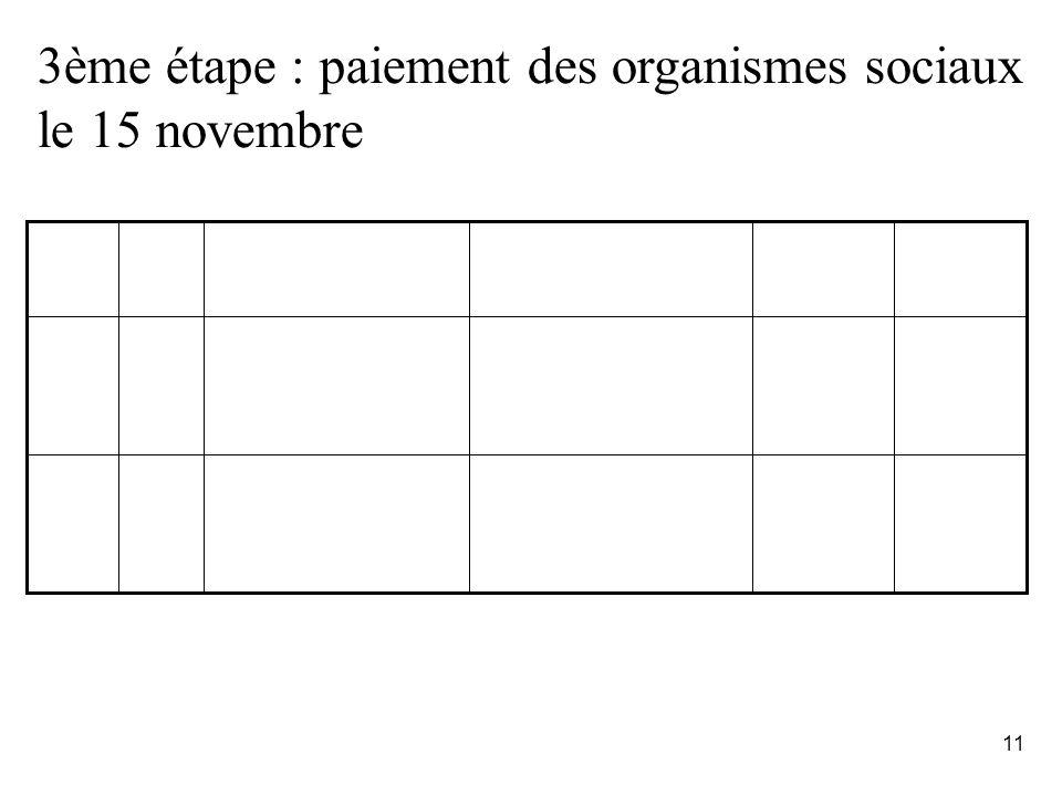 11 3ème étape : paiement des organismes sociaux le 15 novembre