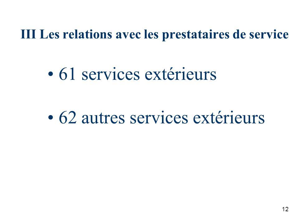 12 III Les relations avec les prestataires de service 61 services extérieurs 62 autres services extérieurs