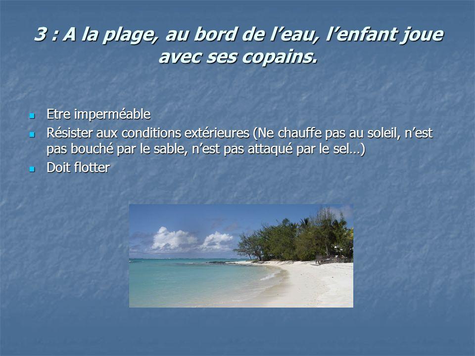 3 : A la plage, au bord de leau, lenfant joue avec ses copains. Etre imperméable Etre imperméable Résister aux conditions extérieures (Ne chauffe pas