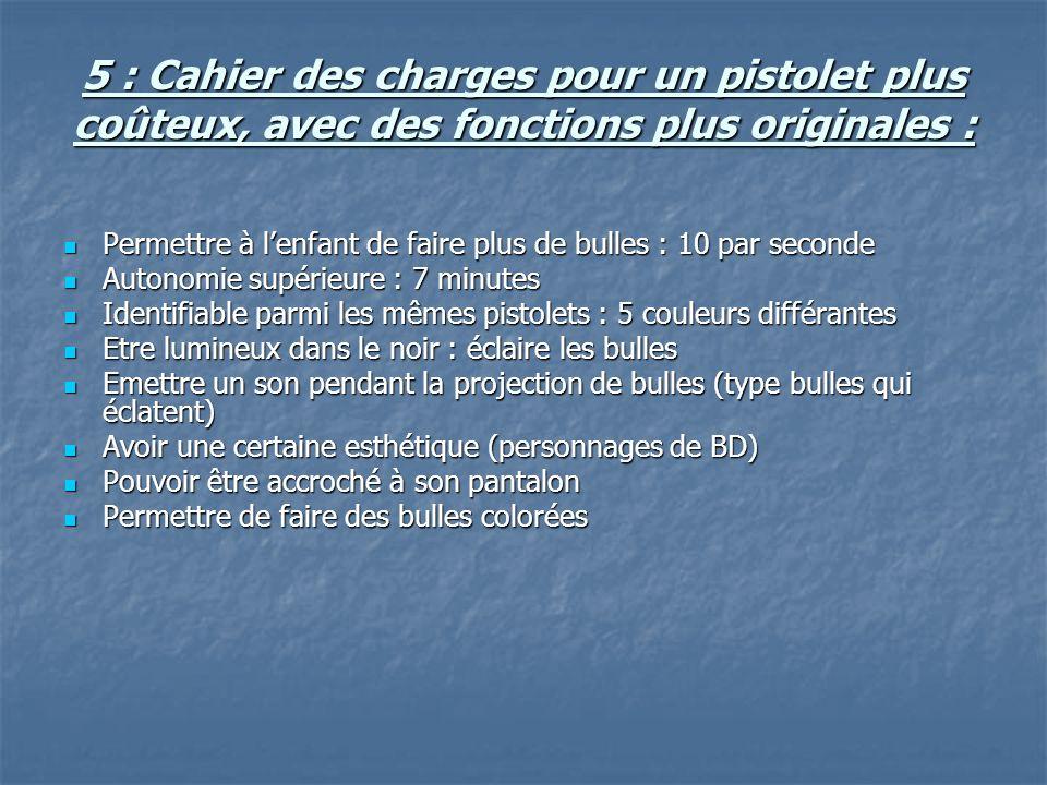 5 : Cahier des charges pour un pistolet plus coûteux, avec des fonctions plus originales : Permettre à lenfant de faire plus de bulles : 10 par second