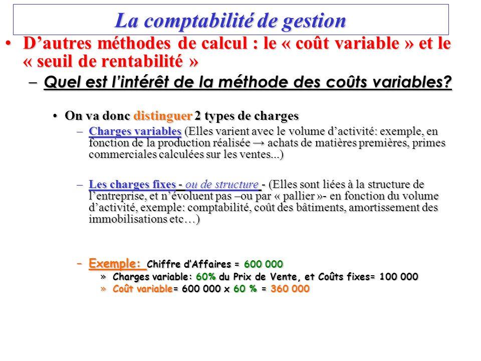 La comptabilité de gestion Dautres méthodes de calcul : le « coût variable » et le « seuil de rentabilité »Dautres méthodes de calcul : le « coût vari