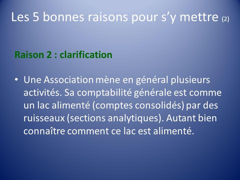 Les 5 bonnes raisons pour sy mettre (2) Raison 2 : clarification Une Association mène en général plusieurs activités. Sa comptabilité générale est com