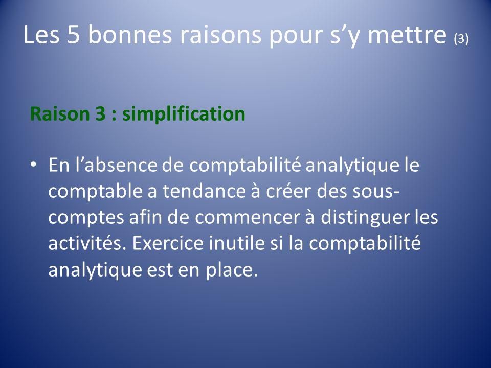 Les 5 bonnes raisons pour sy mettre (3) Raison 3 : simplification En labsence de comptabilité analytique le comptable a tendance à créer des sous- com