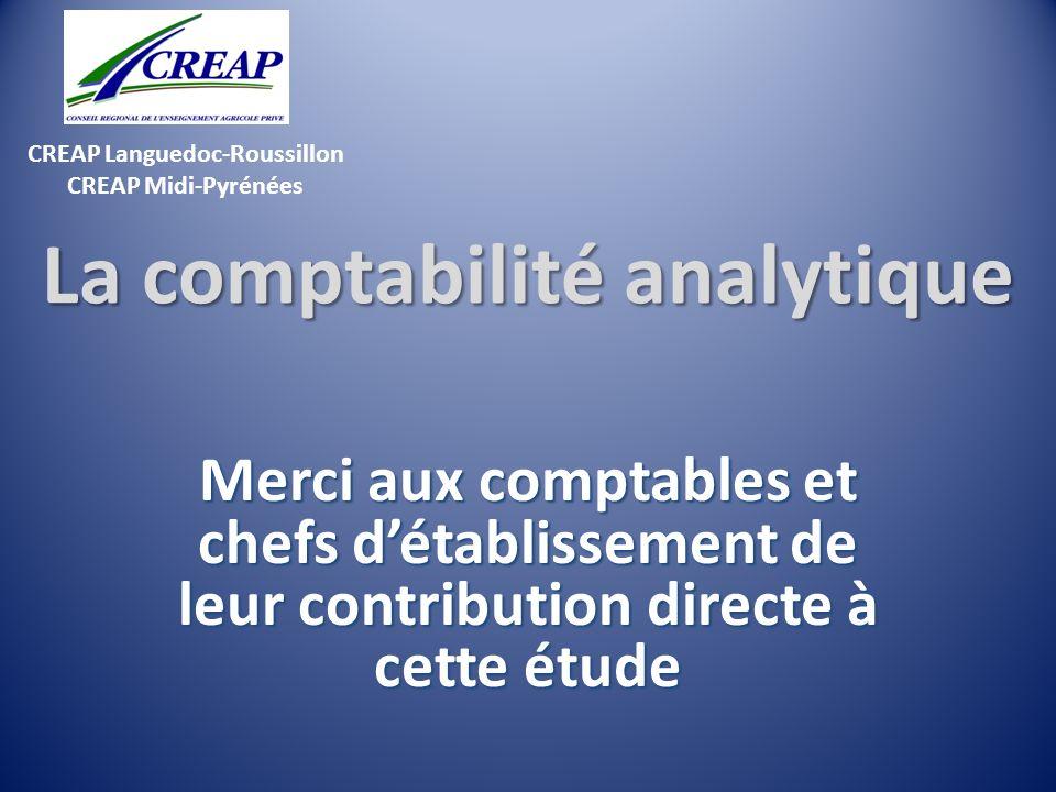 CREAP Languedoc-Roussillon CREAP Midi-Pyrénées La comptabilité analytique Merci aux comptables et chefs détablissement de leur contribution directe à