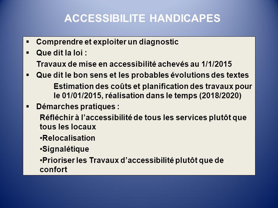 Comprendre et exploiter un diagnostic Que dit la loi : Travaux de mise en accessibilité achevés au 1/1/2015 Que dit le bon sens et les probables évolu