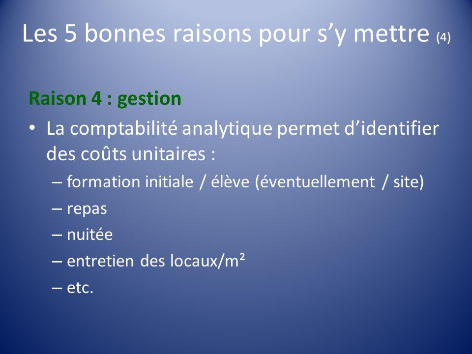 Les 5 bonnes raisons pour sy mettre (4) Raison 4 : gestion La comptabilité analytique permet didentifier des coûts unitaires : – formation initiale /