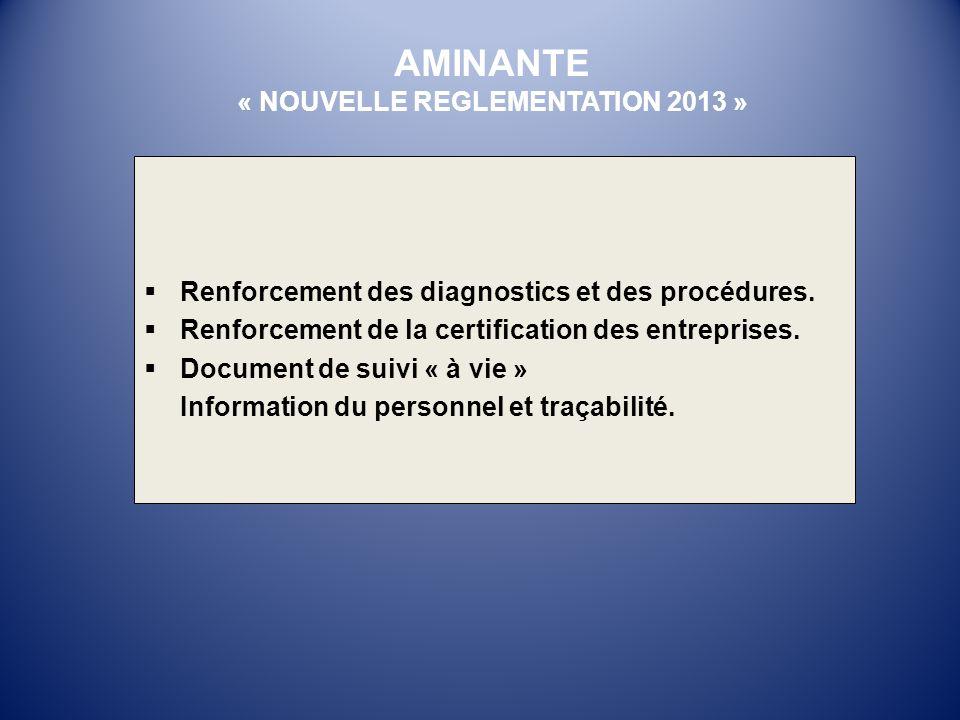 Renforcement des diagnostics et des procédures. Renforcement de la certification des entreprises. Document de suivi « à vie » Information du personnel