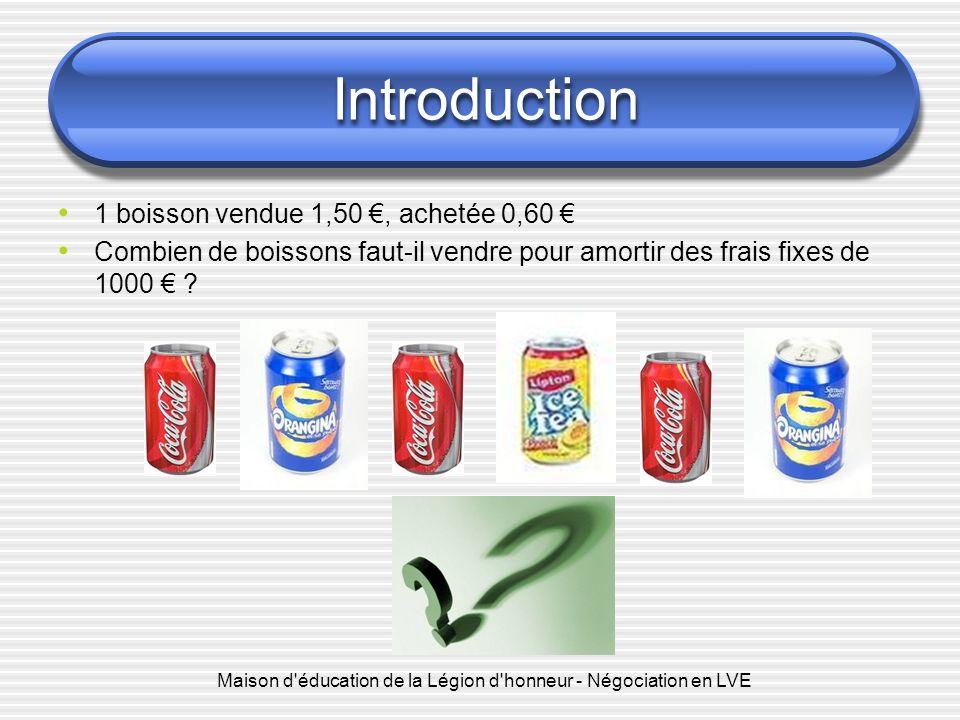 Introduction 1 boisson vendue 1,50, achetée 0,60 Combien de boissons faut-il vendre pour amortir des frais fixes de 1000 .