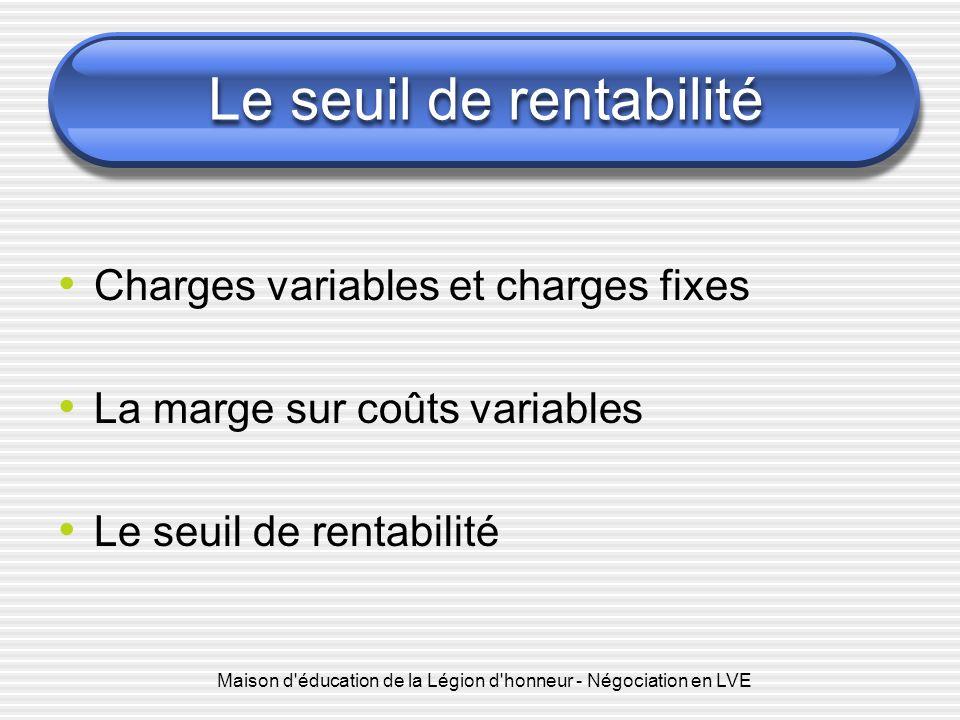 Le seuil de rentabilité Charges variables et charges fixes La marge sur coûts variables Le seuil de rentabilité