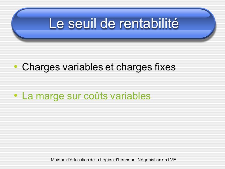 Le seuil de rentabilité Charges variables et charges fixes La marge sur coûts variables