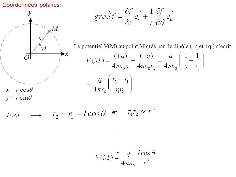 x = r cosθ y = r sinθ Coordonnées polaires Le potentiel V(M) au point M créé par le dipôle (–q et +q ) sécrit : l<<r et