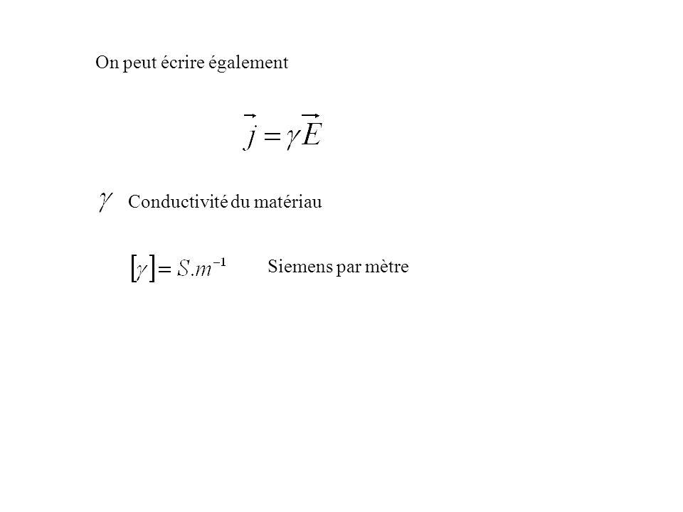 On peut écrire également Conductivité du matériau Siemens par mètre