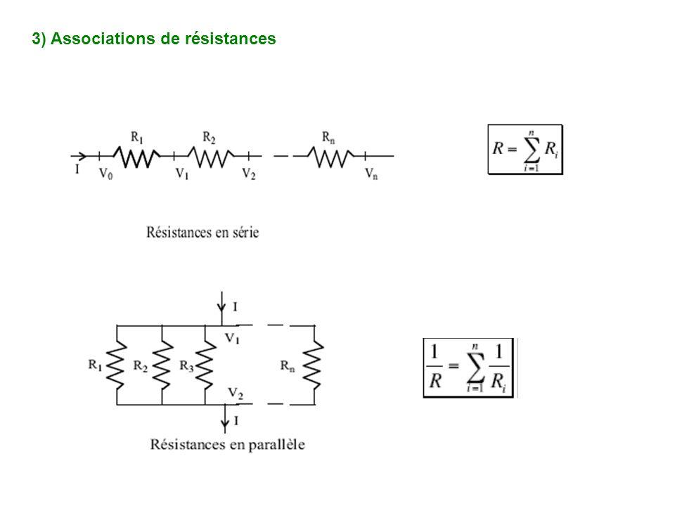 3) Associations de résistances