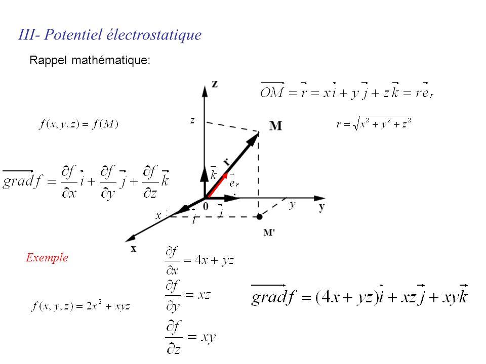 x y z III- Potentiel électrostatique Exemple Rappel mathématique: