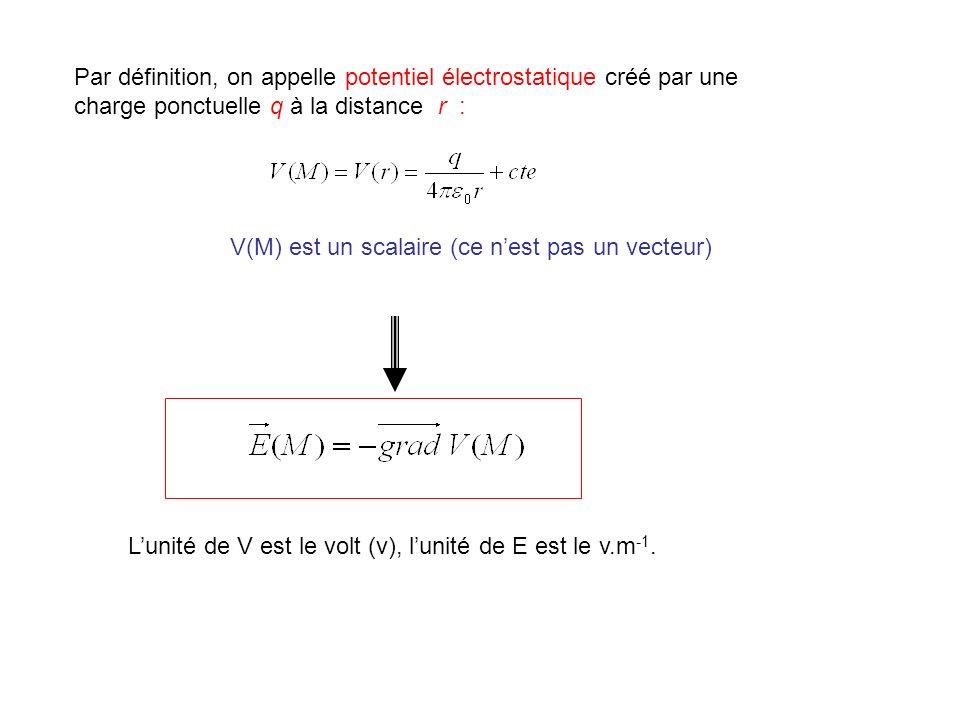 Par définition, on appelle potentiel électrostatique créé par une charge ponctuelle q à la distance r : V(M) est un scalaire (ce nest pas un vecteur)