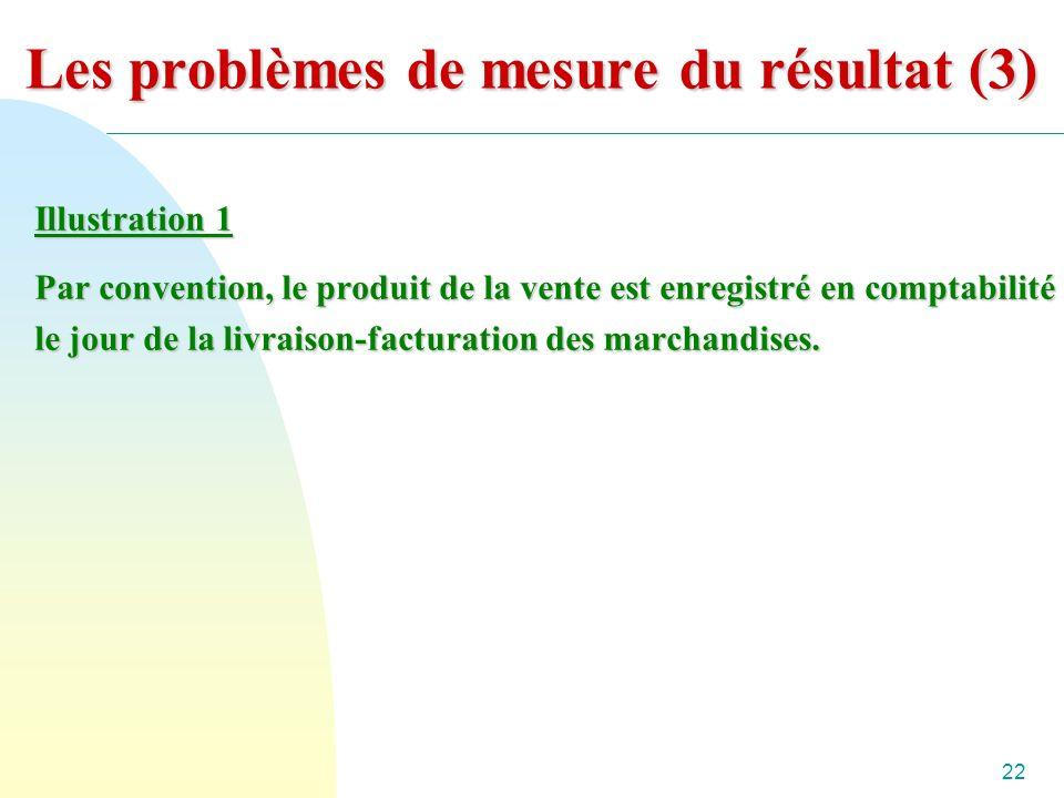 22 Les problèmes de mesure du résultat (3) Illustration 1 Par convention, le produit de la vente est enregistré en comptabilité le jour de la livraison-facturation des marchandises.