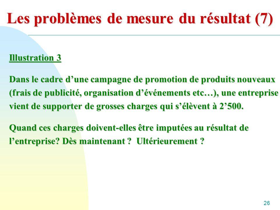26 Les problèmes de mesure du résultat (7) Illustration 3 Dans le cadre dune campagne de promotion de produits nouveaux (frais de publicité, organisation dévénements etc…), une entreprise vient de supporter de grosses charges qui sélèvent à 2500.
