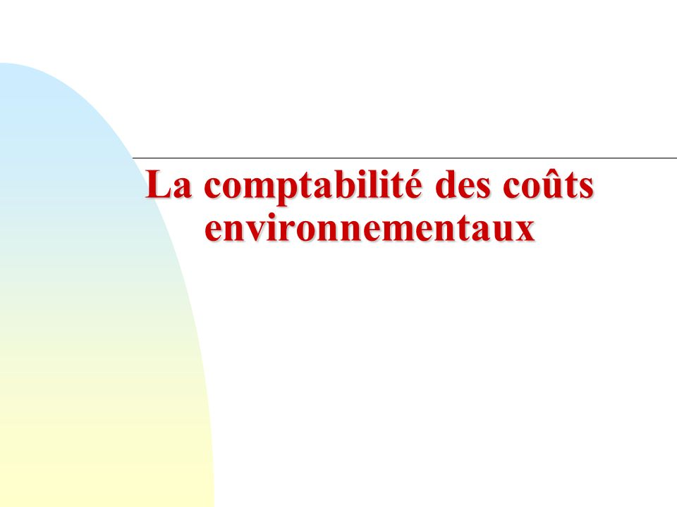 La comptabilité des coûts environnementaux