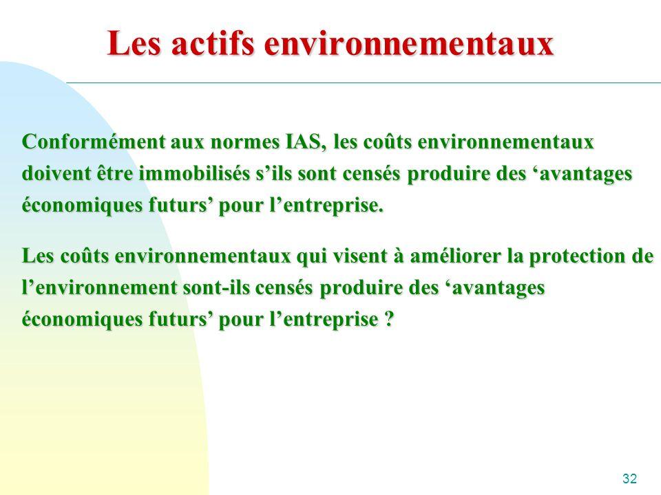 32 Les actifs environnementaux Conformément aux normes IAS, les coûts environnementaux doivent être immobilisés sils sont censés produire des avantages économiques futurs pour lentreprise.