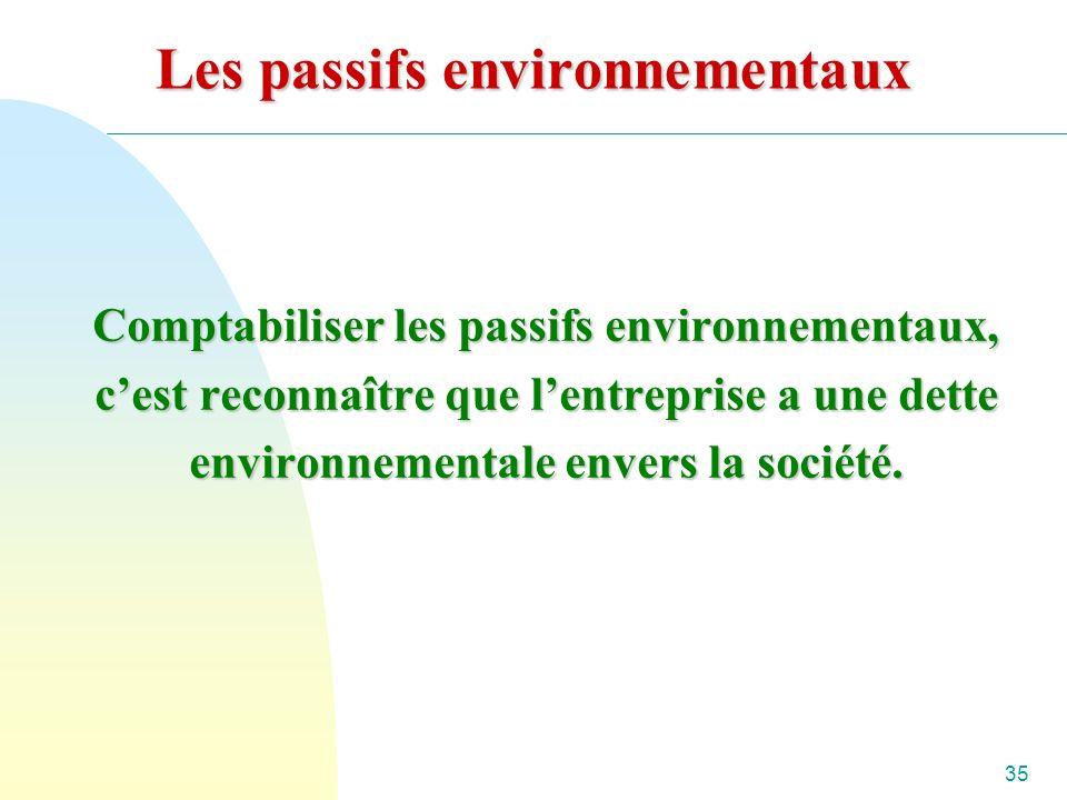 35 Les passifs environnementaux Comptabiliser les passifs environnementaux, cest reconnaître que lentreprise a une dette environnementale envers la société.