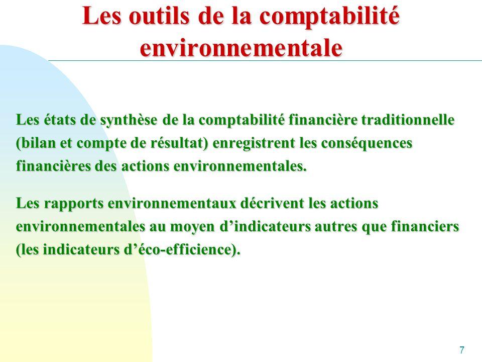 7 Les outils de la comptabilité environnementale Les états de synthèse de la comptabilité financière traditionnelle (bilan et compte de résultat) enregistrent les conséquences financières des actions environnementales.