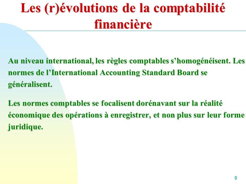 9 Les (r)évolutions de la comptabilité financière Au niveau international, les règles comptables shomogénéisent.