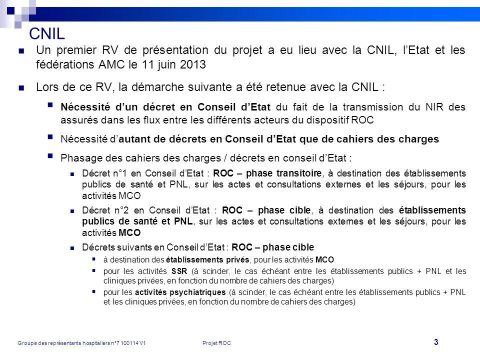 3 Groupe des représentants hospitaliers n°7 100114 V1Projet ROC CNIL Un premier RV de présentation du projet a eu lieu avec la CNIL, lEtat et les fédé