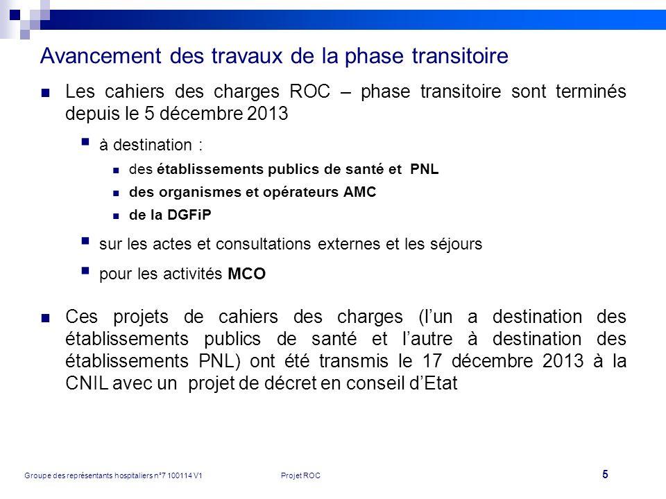 5 Groupe des représentants hospitaliers n°7 100114 V1Projet ROC Avancement des travaux de la phase transitoire Les cahiers des charges ROC – phase tra
