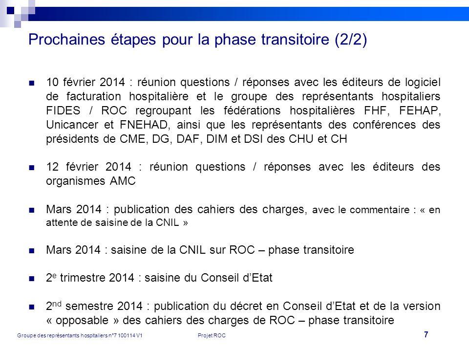7 Groupe des représentants hospitaliers n°7 100114 V1Projet ROC Prochaines étapes pour la phase transitoire (2/2) 10 février 2014 : réunion questions