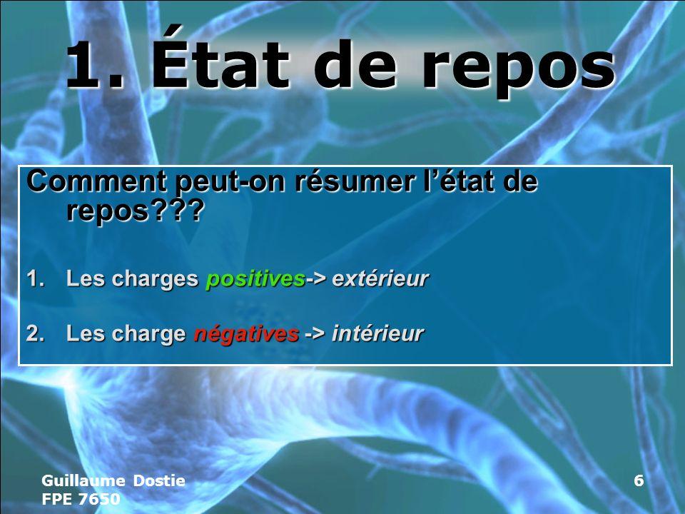 Guillaume Dostie FPE 7650 6 1.État de repos Comment peut-on résumer létat de repos??.