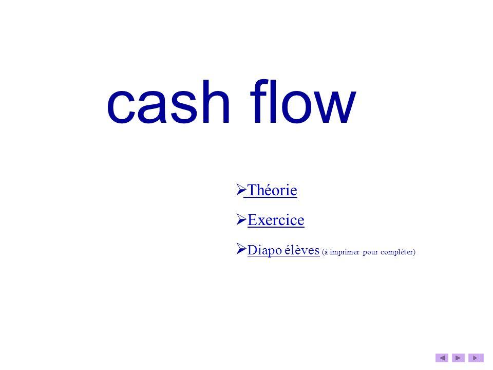 cash flow Théorie Exercice Diapo élèves (à imprimer pour compléter) Diapo élèves