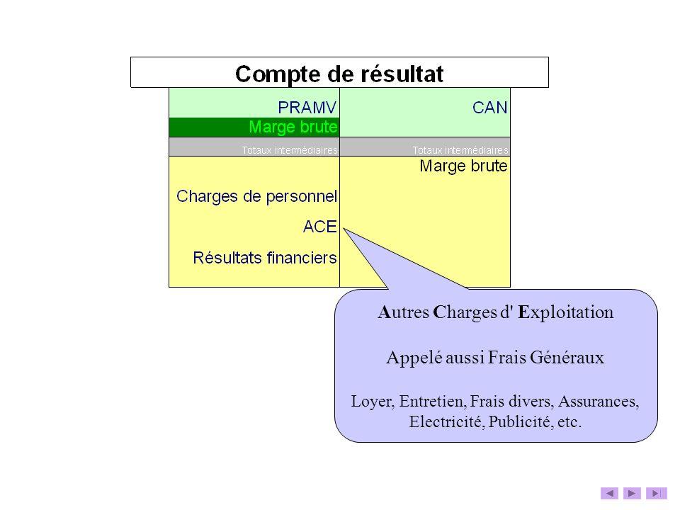 Autres Charges d' Exploitation Appelé aussi Frais Généraux Loyer, Entretien, Frais divers, Assurances, Electricité, Publicité, etc.