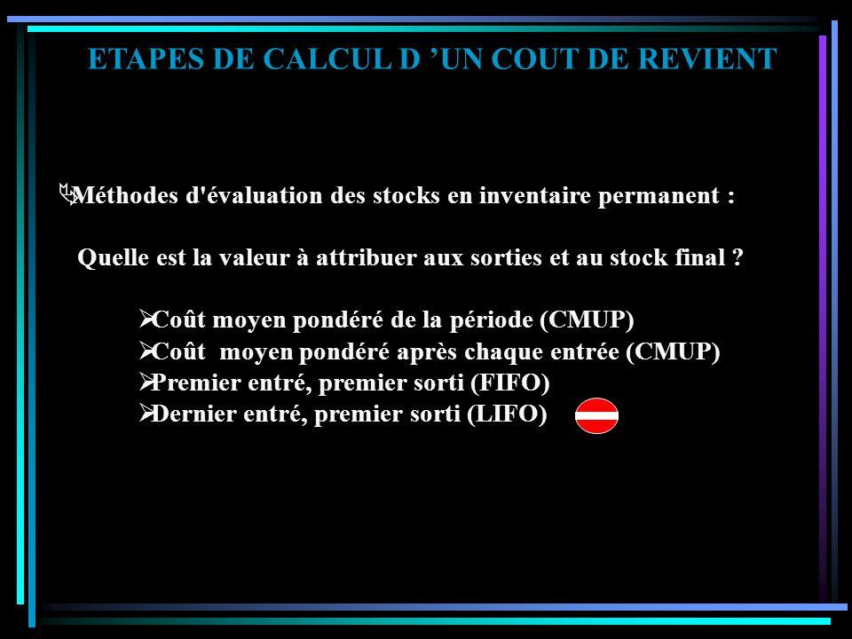 ETAPES DE CALCUL D UN COUT DE REVIENT Coûts d'achats des matières consommées Coûts de production des produits utilisés Ensemble des coûts engagés pour