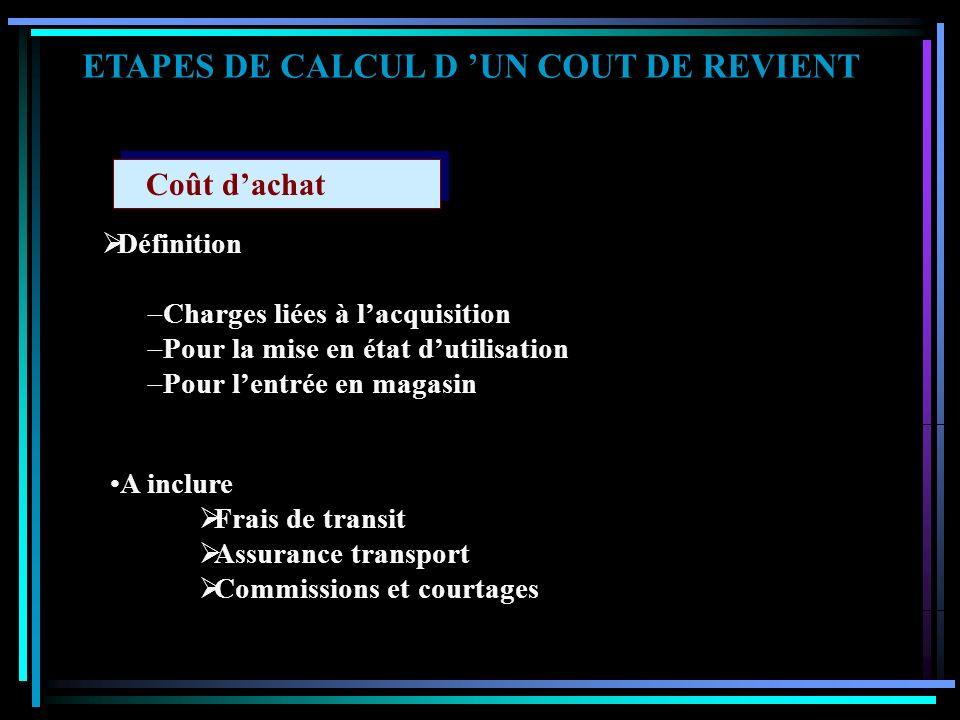 ETAPES DE CALCUL D UN COUT DE REVIENT M éthodes d'évaluation des stocks en inventaire permanent : Quelle est la valeur à attribuer aux sorties et au s