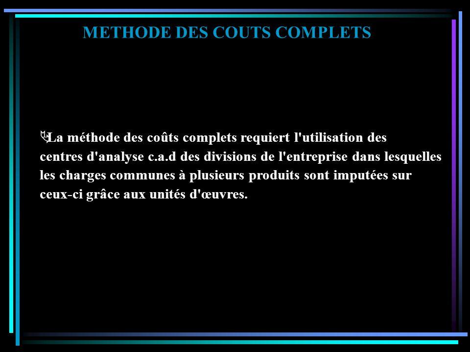 METHODE DES COUTS COMPLETS PRESENTATION DE LA METHODE La méthode des coûts complets permet de calculer les coûts liés à un service, à un stock, à un p