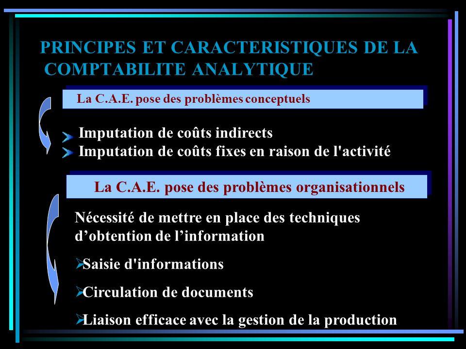 PRINCIPES ET CARACTERISTIQUES DE LA COMPTABILITE ANALYTIQUE La C.A.E. est un instrument de valorisation S tocks I mmobilisations – encours de producti
