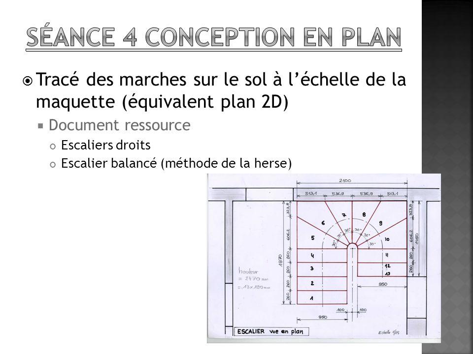 Tracé des marches sur le sol à léchelle de la maquette (équivalent plan 2D) Document ressource Escaliers droits Escalier balancé (méthode de la herse)