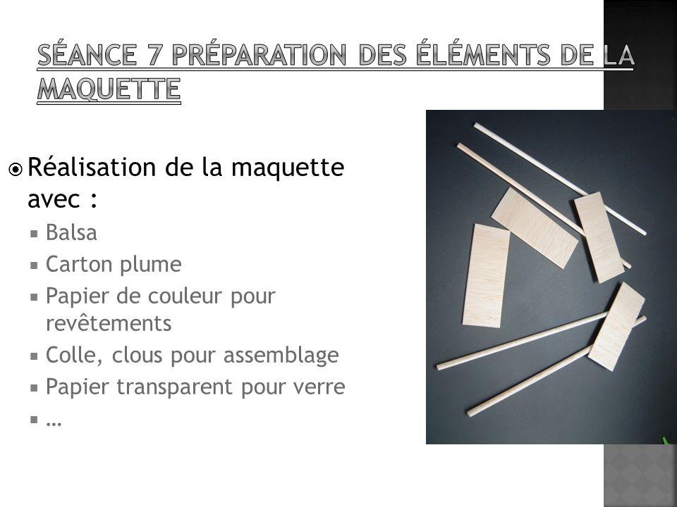 Réalisation de la maquette avec : Balsa Carton plume Papier de couleur pour revêtements Colle, clous pour assemblage Papier transparent pour verre …