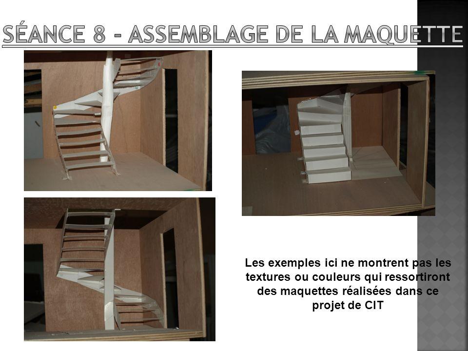 Les exemples ici ne montrent pas les textures ou couleurs qui ressortiront des maquettes réalisées dans ce projet de CIT