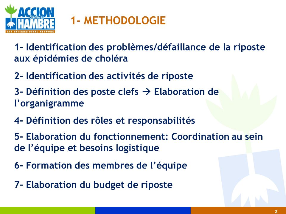 2 1- METHODOLOGIE 1- Identification des problèmes/défaillance de la riposte aux épidémies de choléra 2- Identification des activités de riposte 3- Déf
