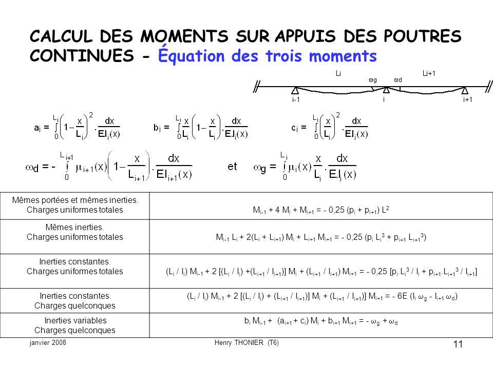 janvier 2008Henry THONIER (T6) 11 CALCUL DES MOMENTS SUR APPUIS DES POUTRES CONTINUES - Équation des trois moments Mêmes portées et mêmes inerties. Ch
