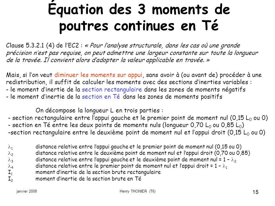 janvier 2008Henry THONIER (T6) 15 Équation des 3 moments de poutres continues en Té Clause 5.3.2.1 (4) de lEC2 : « Pour lanalyse structurale, dans les