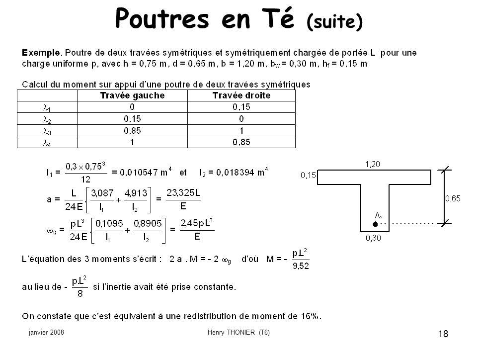janvier 2008Henry THONIER (T6) 18 Poutres en Té (suite)