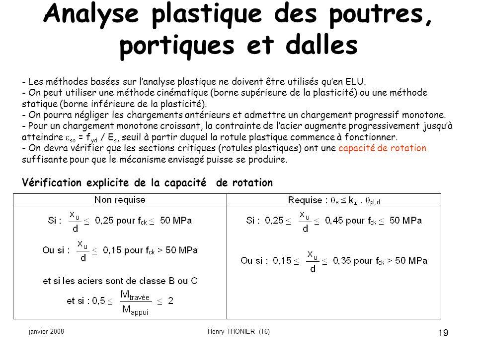 janvier 2008Henry THONIER (T6) 19 Analyse plastique des poutres, portiques et dalles - Les méthodes basées sur lanalyse plastique ne doivent être util