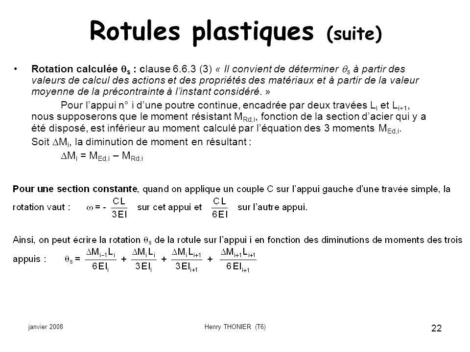 janvier 2008Henry THONIER (T6) 22 Rotules plastiques (suite) Rotation calculée s : clause 6.6.3 (3) « Il convient de déterminer s à partir des valeurs