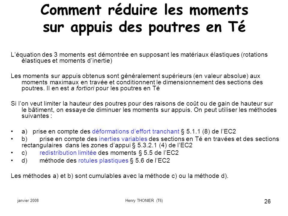 janvier 2008Henry THONIER (T6) 26 Comment réduire les moments sur appuis des poutres en Té Léquation des 3 moments est démontrée en supposant les maté