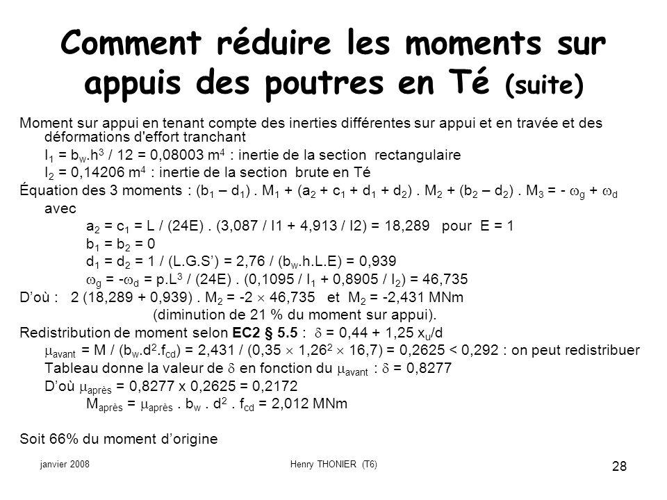 janvier 2008Henry THONIER (T6) 28 Comment réduire les moments sur appuis des poutres en Té (suite) Moment sur appui en tenant compte des inerties diff