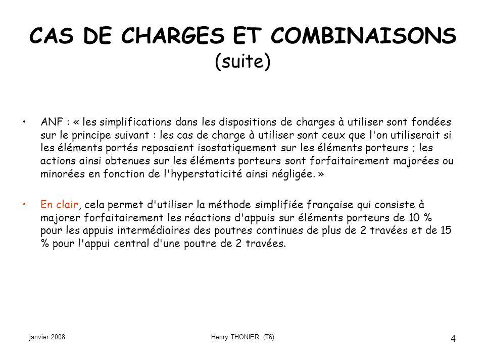 janvier 2008Henry THONIER (T6) 4 CAS DE CHARGES ET COMBINAISONS (suite) ANF : « les simplifications dans les dispositions de charges à utiliser sont f