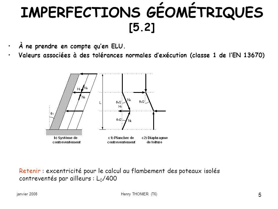 janvier 2008Henry THONIER (T6) 6 MODÉLISATION DE LA STRUCTURE [§5.3] Définition des éléments [§5.3.1 et §9.6.1] Poutresi L > 3 hlongueur L et hauteur h Dallesi b > 5 hlargeur b et épaisseur h Poteausi b < a < 4 b et H > 3 b côtés a et b, hauteur H Voilesi L > 4 hépaisseur h, longueur L Dalle portant dans deux directions si 0,5 L 1 L 2 2 L 1 L 1 et L 2 dimensions horizontales de la dalle